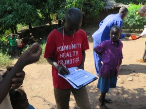 A community health promoter monitoring health practices in the home