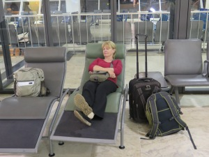 Resting on the way home in Addis Abababa airport