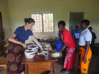 Preparing lunch for volunteers